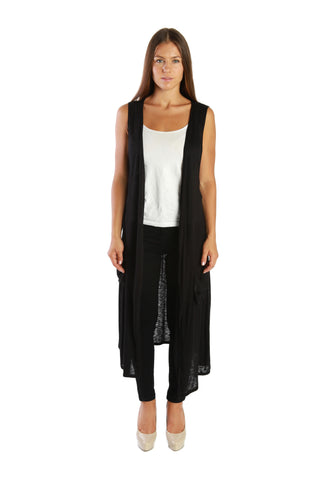 COMFY! Open Duster Sleeveless Long Cardigan Vest w/ Pockets