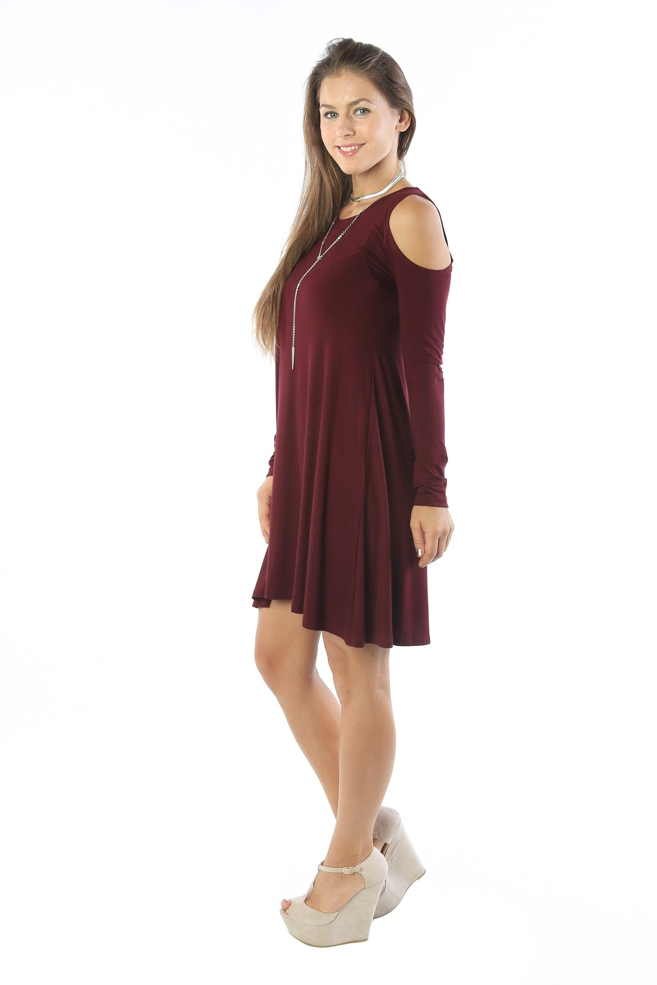 Open Shoulder Tunic Shift Dress Swing Top Shirt Blouse Flowy Long Sleeve - MADE IN USA - All Sizes + Colors