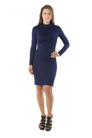 Elegant! Maxi Fitted Bodycon Midi Dress w/ Long Sleeve Mock Neck