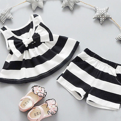 Striped Top and Short Pant 2PCS Outfit