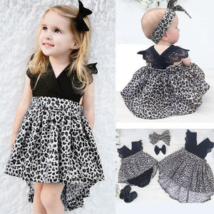 0-7Y Girl Leopard Suit Lace Ruffles Sleeve Romper Dress + Headband 2pcs Outfit