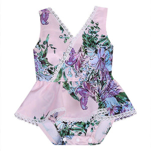 Summer Princess Girls Sleeveless V-neck Lace Floral Romper Jumpsuit Sunsuit Outfit