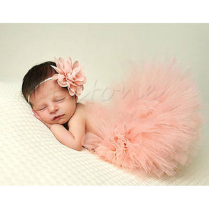Baby Girl Tutu Skirt & Headband Photo Prop Costume Outfit