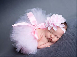 Tutu Clothes Skirt Floral Headband Photo Prop Outfits