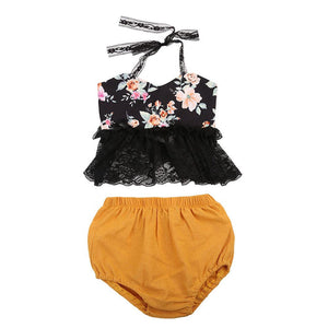 Baby Girl Set Backless Lace Halter Floral Top + Shorts Outfit