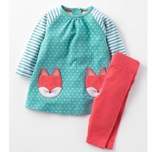 Fox and Deer Animal Pattern Baby Girl Outfits