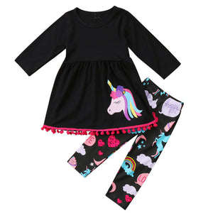 Unicorn Tracksuit for Girls Outfit Dress+Pants