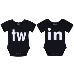 Brother Sister Bodysuit Short Sleeve Letters Jumpsuit Infant Twins Outfits
