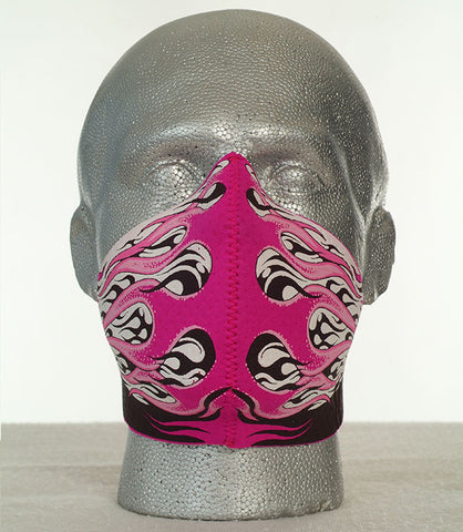 Bandero women's Hot Rod Flames biker mask in pink