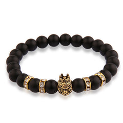 V.YA Animal Charms Bracelets for Men Women Natural Stone Jewelry with Crystal Woman's Man's Lion Bracelet Bangle Beads Bangles