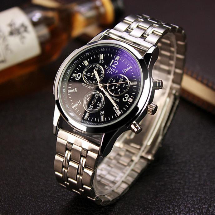 Mens Noctilucent Stainless Steel Glass Quartz Analog Watches