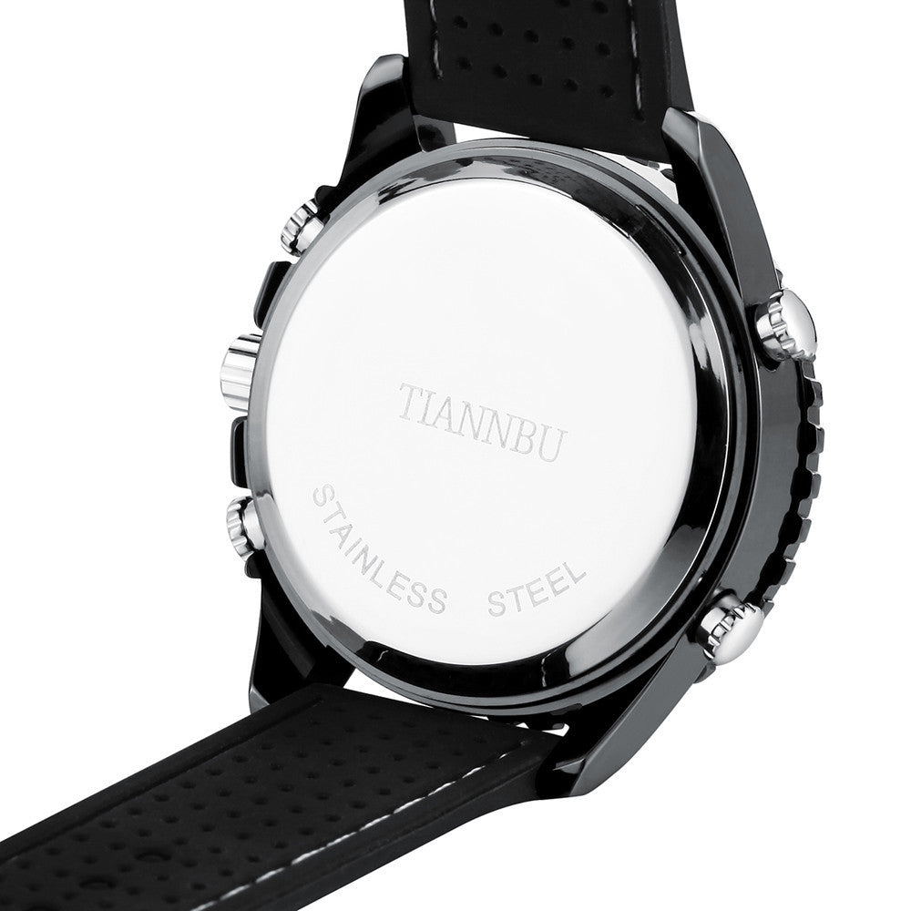 Tiannbu New Mens Sport Leather Date Digital Watch