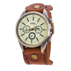 CCQ Men Fashion Casual Quartz Men Retro Three Big Dial Bracelet Watch