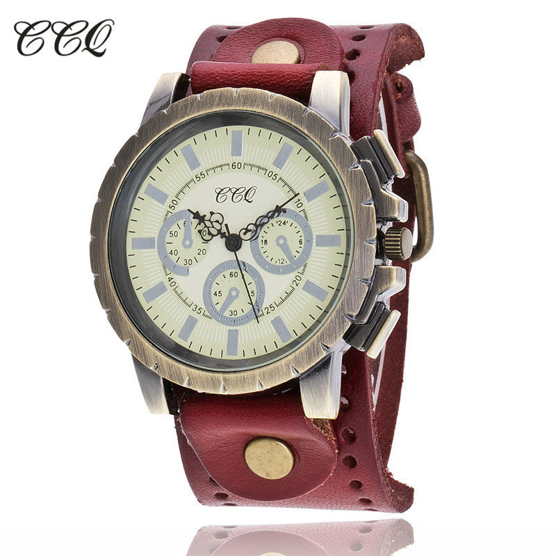 CCQ Fashion Men Date Stainless Steel Leather Analog Quartz Sport Wrist Watch