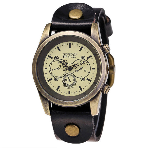 CCQ Brand Leather Vintage Watch Men Women Wristwatch Quartz