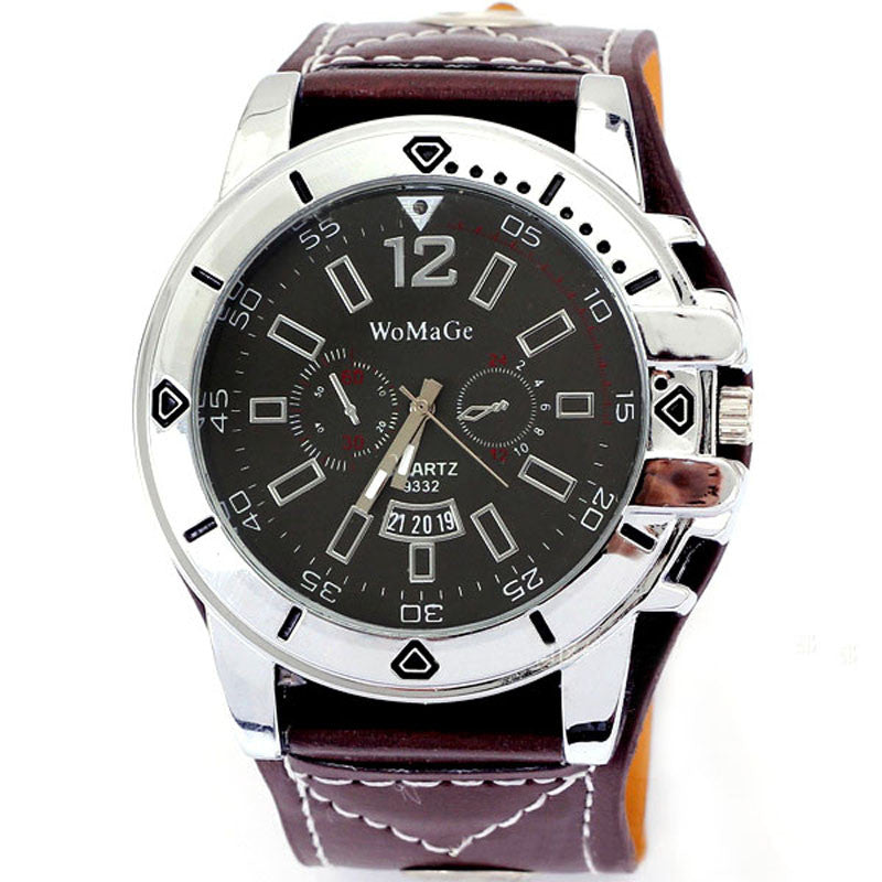 Luxury Mens Black Analog Sport Quartz Date PU Leather Army Wrist Watch