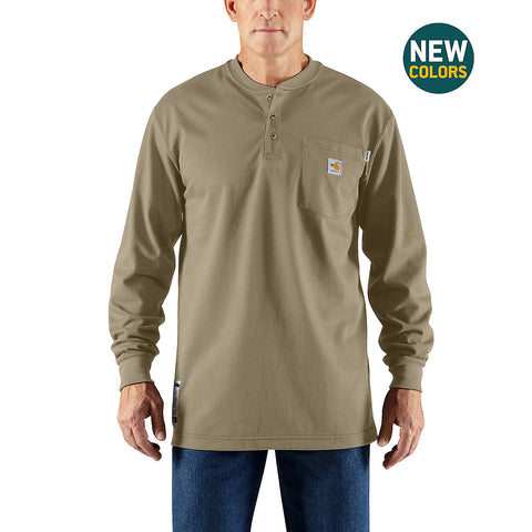 Mens Flame Resistant Force Cotton Longsleeve Henley - Khaki