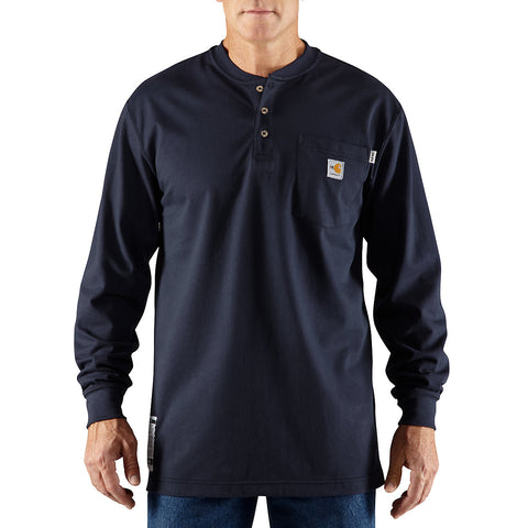 Mens Flame Resistant Force Cotton Longsleeve Henley - Dark Navy