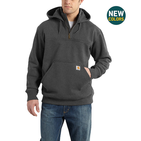 Mens Rain Defender Paxton Heavyweight Hooded Zip Mock Sweatshirt - Carbon Heather