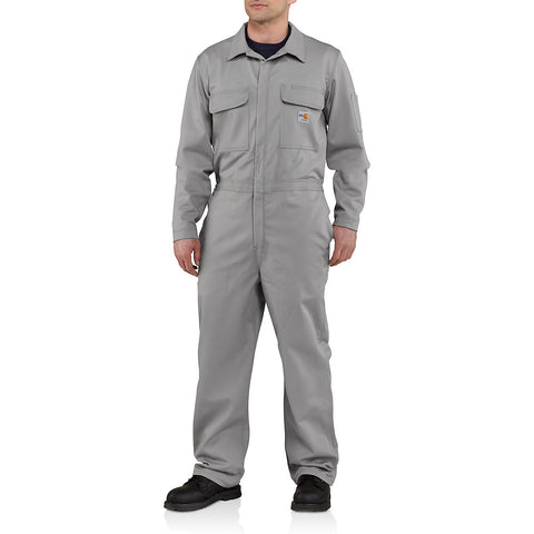 Mens Flame Resistant Traditional Twill Coverall - Gray