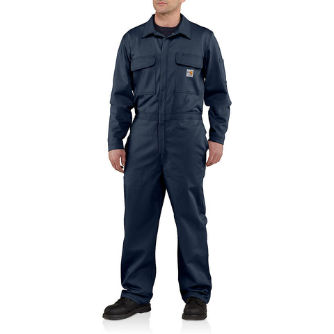 Mens Flame Resistant Traditional Twill Coverall - Dark Navy