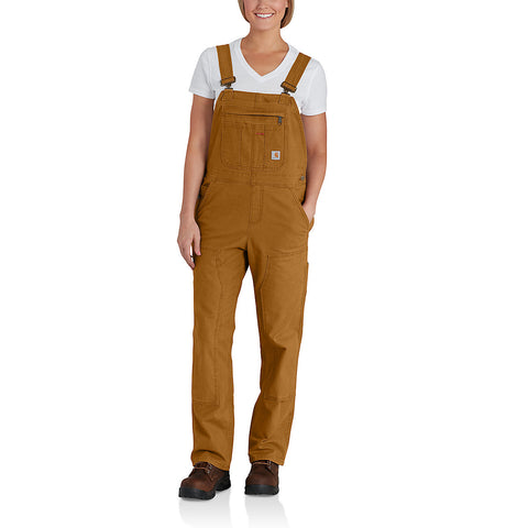 Womens Crawford Double Front Bib Overalls - Carhartt Brown
