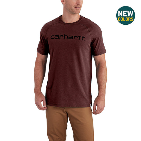 Mens Force Cotton Delmont Graphic Short Sleeve T Shirt - Red Brown Heather
