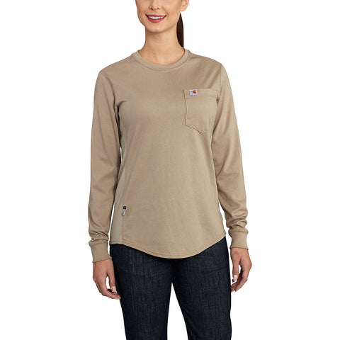 Womens Flame Resistant Womens Force Cotton Longsleeve Crew T Shirt - Khaki