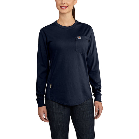 Womens Flame Resistant Womens Force Cotton Longsleeve Crew T Shirt - Dark Navy