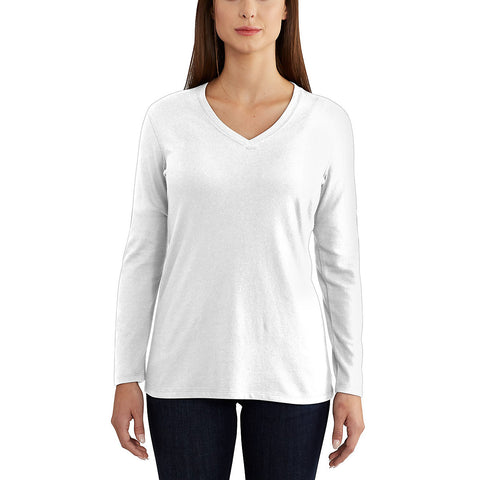 Womens Lockhart Long Sleeve Vneck Tshirt - White