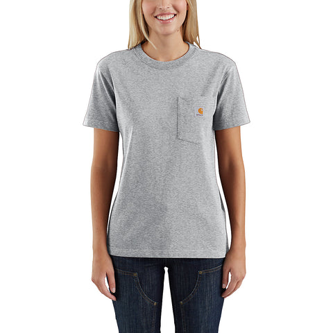 Womens WK87 Workwear Pocket Short Sleeve Tshirt - Heather Gray