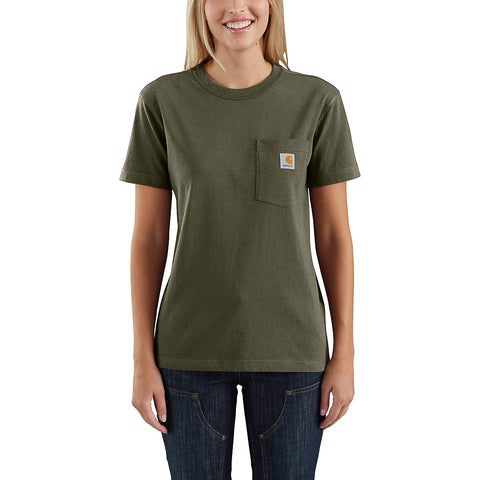 Womens WK87 Workwear Pocket Short Sleeve Tshirt - Army Green