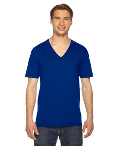 American Apparel Unisex USA Made Fine Jersey Short-Sleeve V-Neck T-Shirt - Lapis