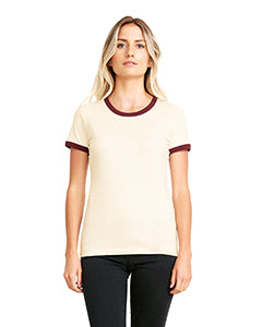Next Level Ladies' Ringer T-Shirt - Natural/ Maroon