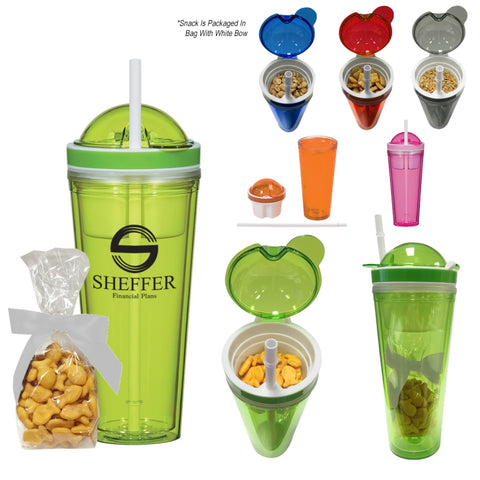 Snack Attack Tumbler With Stuffer (Granola, Chex Mix, Peanuts or Gold Fish)