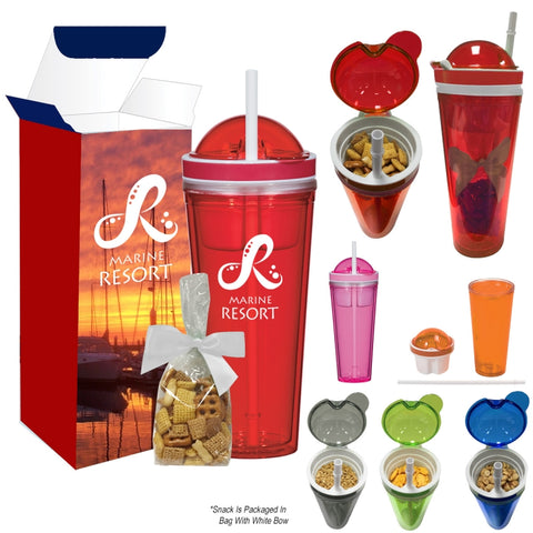 Snack Attack Tumbler With Stuffer And Custom Box (Granola, Chex Mix, Peanuts or Gold Fish)