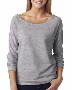 Next Level Ladies' French Terry 3/4-Sleeve Raglan - Heather Gray