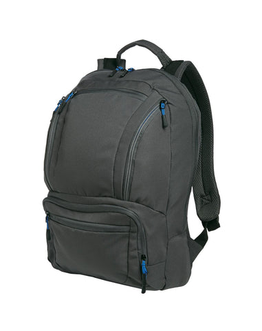 Port Authority ®  Cyber Backpack. BG200 - Dark Charcoal/ Royal