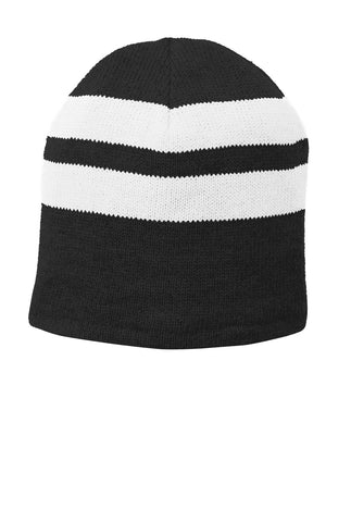 Port & Company ®  Fleece-Lined Striped Beanie Cap. C922 - Black/ White