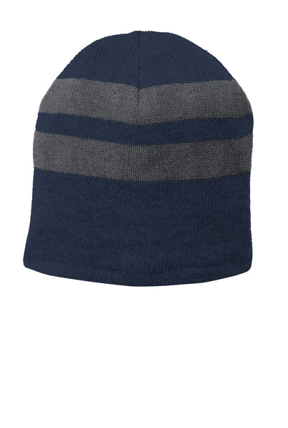 ff6ab4aa2a4 Port   Company ® Fleece-Lined Striped Beanie Cap. C922 - Navy  Athletic  Oxford - Customize   Buy – Brand RPM