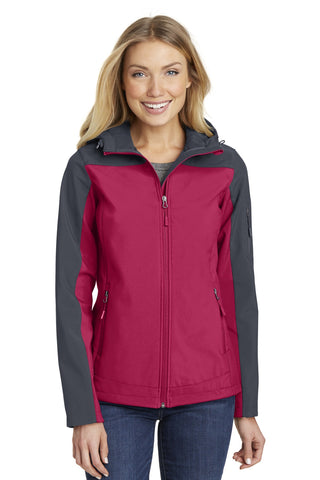 Port Authority ®  Ladies Hooded Core Soft Shell Jacket. L335 - Dark Fuchsia/ Battleship Grey