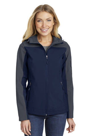 Port Authority ®  Ladies Hooded Core Soft Shell Jacket. L335 - Dress Blue Navy/ Battleship Grey