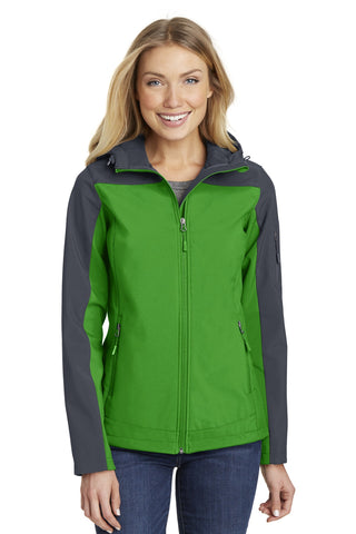 Port Authority ®  Ladies Hooded Core Soft Shell Jacket. L335 - Vine Green/ Battleship Grey