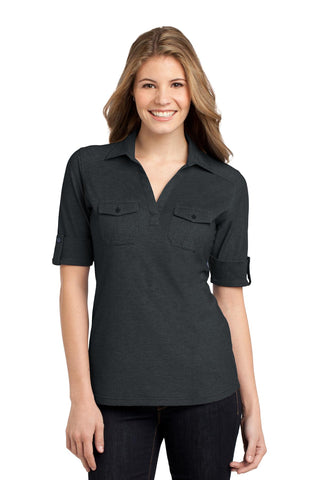 Port Authority ®  Ladies Oxford Pique Double Pocket Polo. L557 - Black/ Monument Grey