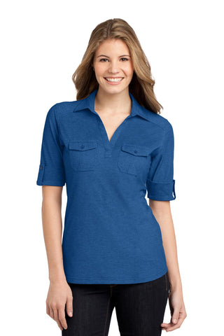 Port Authority ®  Ladies Oxford Pique Double Pocket Polo. L557 - Marina Blue/ True Navy