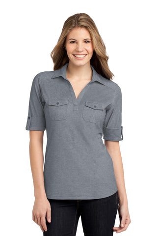 Port Authority ®  Ladies Oxford Pique Double Pocket Polo. L557 - Monument Grey/ White