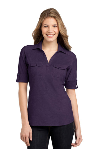Port Authority ®  Ladies Oxford Pique Double Pocket Polo. L557 - Purple/ Dress Blue Navy