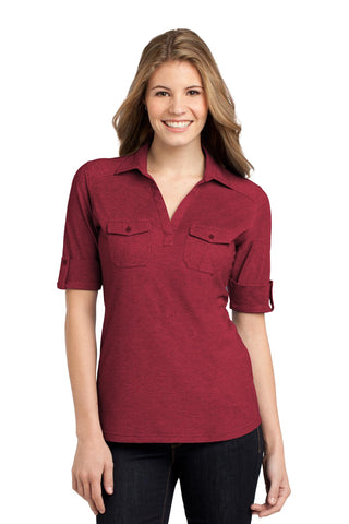 Port Authority ®  Ladies Oxford Pique Double Pocket Polo. L557 - Red/ Mulberry