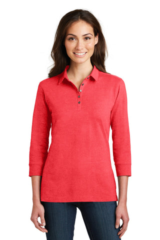 Port Authority ®  Ladies 3/4-Sleeve Meridian Cotton Blend Polo. L578 - Hibiscus Pink