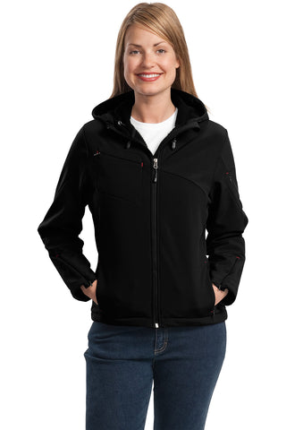 Port Authority ®  Ladies Textured Hooded Soft Shell Jacket. L706 - Black/Engine Red